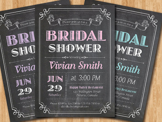 chalkboard bridal shower invitation wedding shower pink purple blue black and white typography rustic printable digital diy