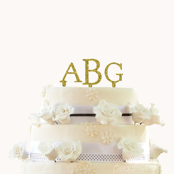 Personalized Glitter Wedding Cake Topper