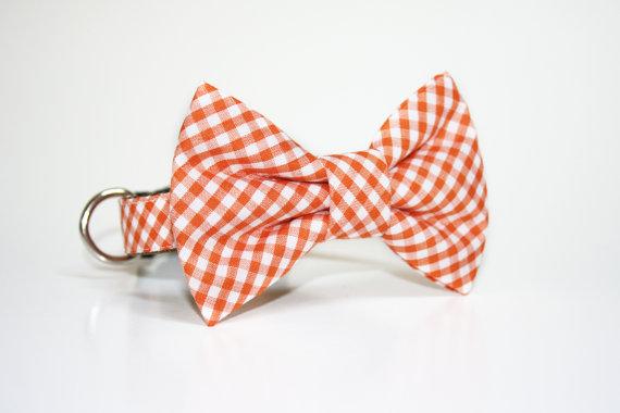 Свадьба - Gingham Bow Tie Dog Collar- Hot Pink- Orange- Mint gingham