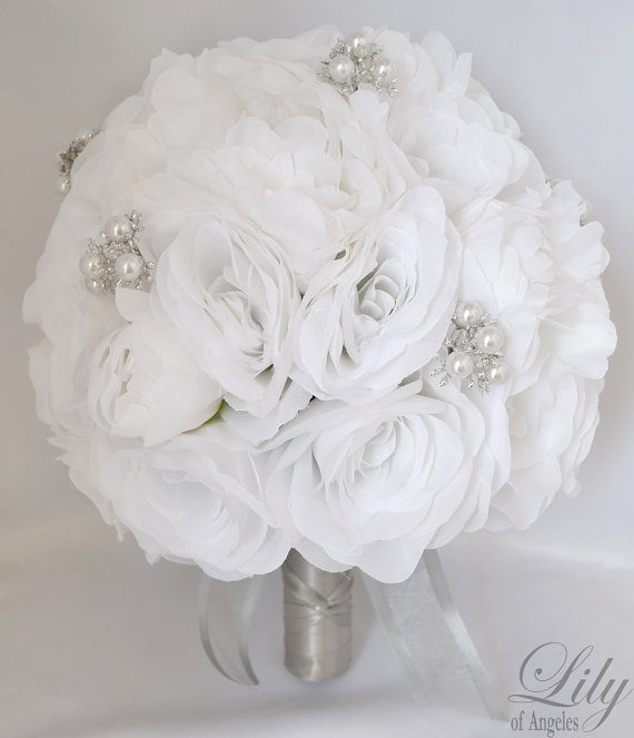 Silk Flower Wedding Bouquet Arrangements Artificial Bridal Bouquets Flowers Lily Of Angeles Wtwt03