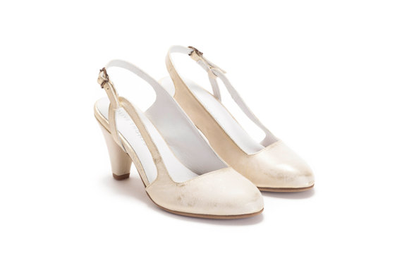 Mariage - Gold Wedding Shoes, Bridal Shoes, Shoes, Wedding Heels, Handmade Shoes, Pumps, Party Shoes, Free Shipping