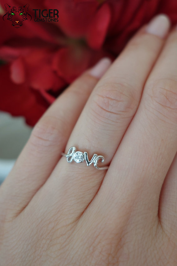Cursive LOVE Ring 1 Carat Stacking Layering Engagement Ring