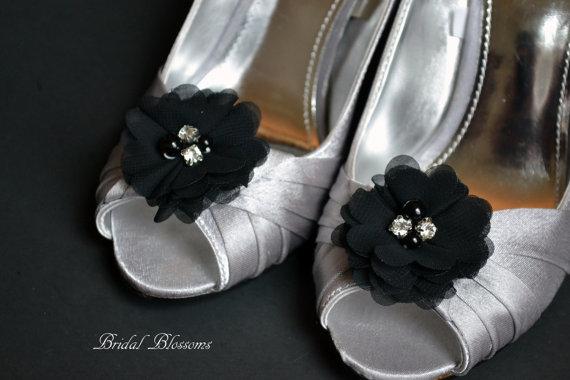 Hochzeit - Black Chiffon Flower Shoe Clips