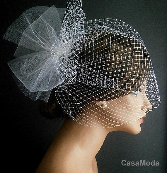 Свадьба - Ivory Wedding Viel Full Birdcage Veil With Poof In Ivory Color 13 Inches
