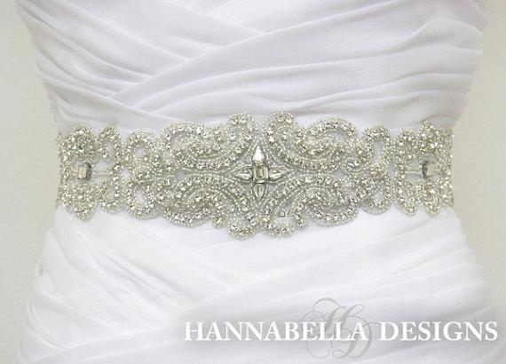 زفاف - ANGELICA - Crystal Rhinestone Bridal Beaded Sash Belt, Wedding Dress Sash, Bridal Crystal Belts