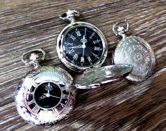 Hochzeit - Pocket Watch Unique Silver Quartz with Vest Chain Groomsmen Gift Mens Gift Grooms Corner Personal Keepsake Ships from Canada