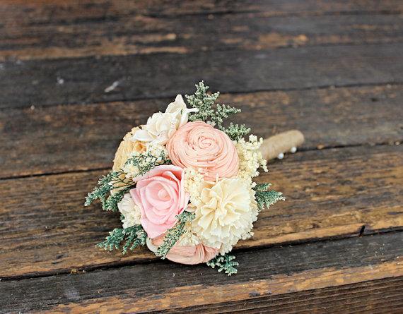 زفاف - Romantic Wedding Bouquet - Toss Alternative Natural Bridesmaid Bouquet, Keepsake Wood Bouquet, Shabby Chic Rustic Wedding