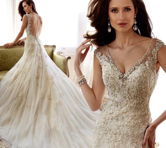 زفاف - Wedding dress//Luxury V-neck Sequins Beading See Through Back Lace Wedding Dress by Elena
