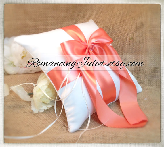 Mariage - Romantic Satin Ring Bearer Pillow...You Choose the Colors...Buy One Get One Half Off...shown in ivory/peach coral