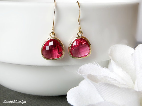 Mariage - Ruby Bezel Earrings, Dainty Gold Earrings, July Birthstone, Drop Earrings, Wedding jewelry, Bridal Jewelry, Bridesmaids Earrings, Bride