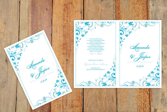 Свадьба - Wedding Program Template - Download Instantly - EDIT YOURSELF -Chic Bouquet Foldover (Malibu Blue) (Microsoft Word Format)