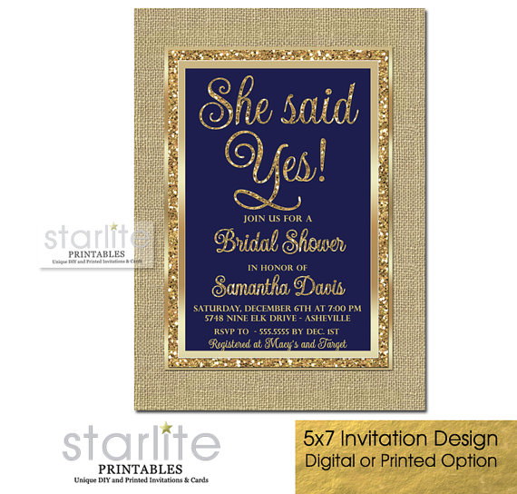 Navy Blue And Gold Bridal Shower Invitation Engagement Party