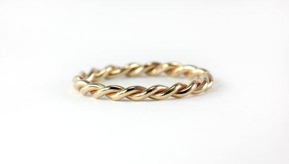 Infinite Twisted Rope Ring Band Wedding Engagement Promise 14k Yellow Rose Palladium White Gold Platinum 950