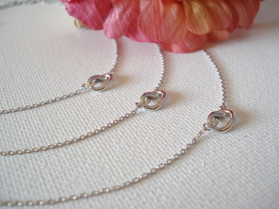 Wedding - Tiny silver knot necklace..simple handmade jewelry, everyday, bridal jewelry, wedding, bridesmaid, tie the knot, best friend gift