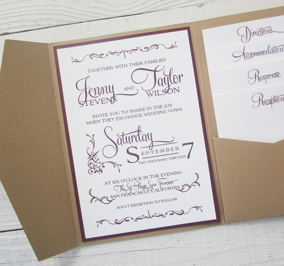 Mariage - Rustic Kraft Wedding Invitation - Pocket Country Twine Purple Maroon Elegant.  Purchase this listing for a Sample.