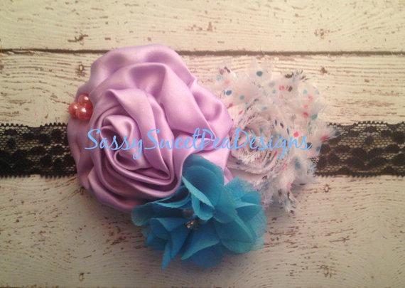 Свадьба - Lavender Fields Headband..Lavender and Polka Dots on Navy Lace Headband..Flower Girl, Newborn, Photo Prop Headband