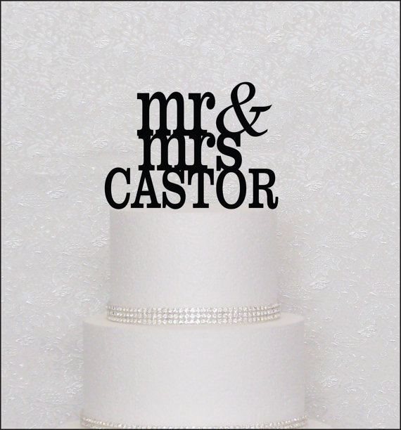 Wedding - Mr and Mrs Last Name Monogram Wedding Cake Topper in Black, Gold, or Silver