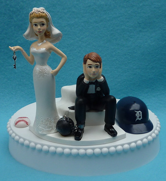 Wedding - Wedding Cake Topper Detroit Tigers Baseball Themed Ball and Chain Key w/ Bridal Garter Humorous Sports Fans Bride Groom Reception Funny Top