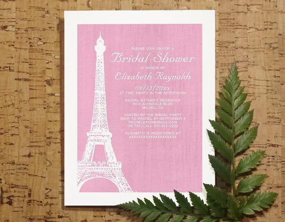 Eiffel Tower Bridal Invitations Shower Wedding