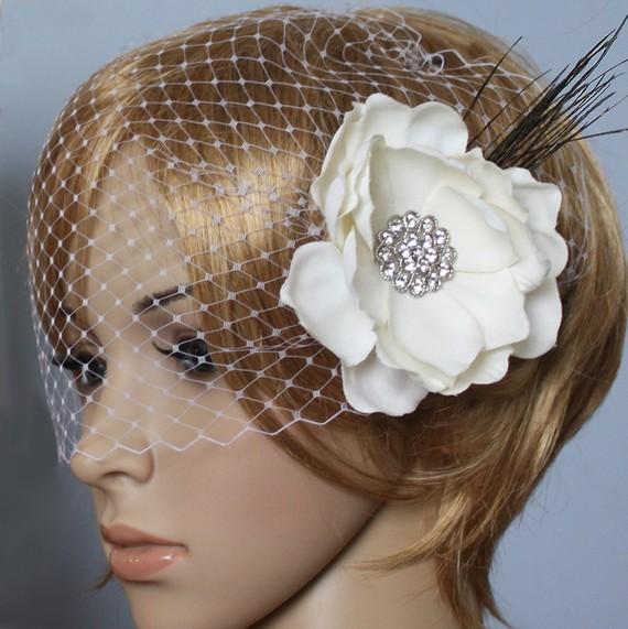 Hochzeit - Vintage inspired Birdcage Veil Bandeau style Bridal Detachable Fascinator Blusher hair flower Wedding Reception