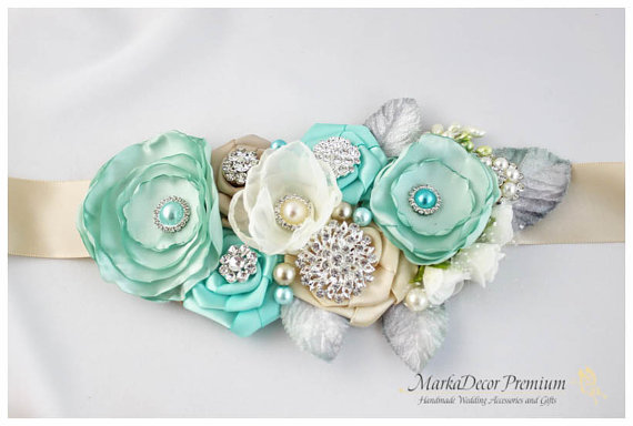 Hochzeit - Bridal Sash / Custom Wedding Bridesmaids Belt in Ivory, Champagne, Aqua Mint Blue with Brooches, Beads, Pearls, Crystals, Jewels