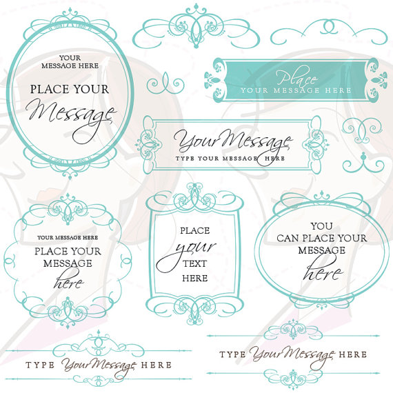 flourish swirls digital frames calligraphy clip art teal turquoise wedding clipart diy bridal shower invitations decorative graphics 10212