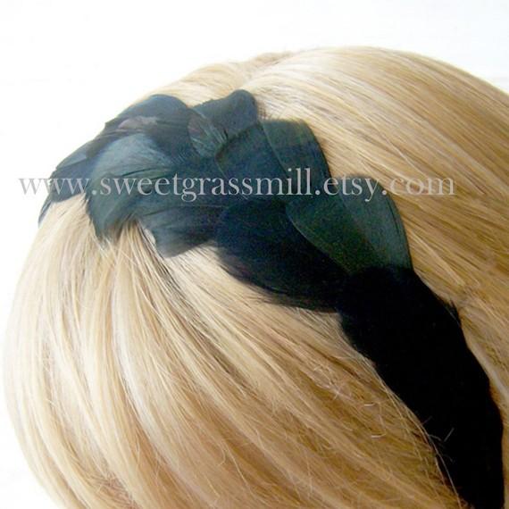 Свадьба - Black Feather Headband - NOIRLUXE Feather Crown