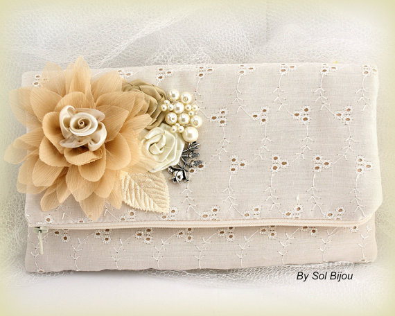 Hochzeit - Bridal Clutch, Wedding, Handbag, Maid of Honor, Bridesmaids in Champagne, Cream and Ivory with Eyelet Fabric, Handmade Flowers and Pearls