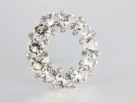 Свадьба - Vintage Swarovski crystal sterling silver Brooch wreath circle brooch, wedding bridal jewelry