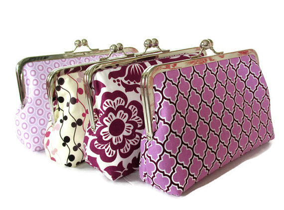 Mariage - Set of Four Clutches , Wedding Party Purses, Custom Personalized Bridesmaid Gift Purses Bags
