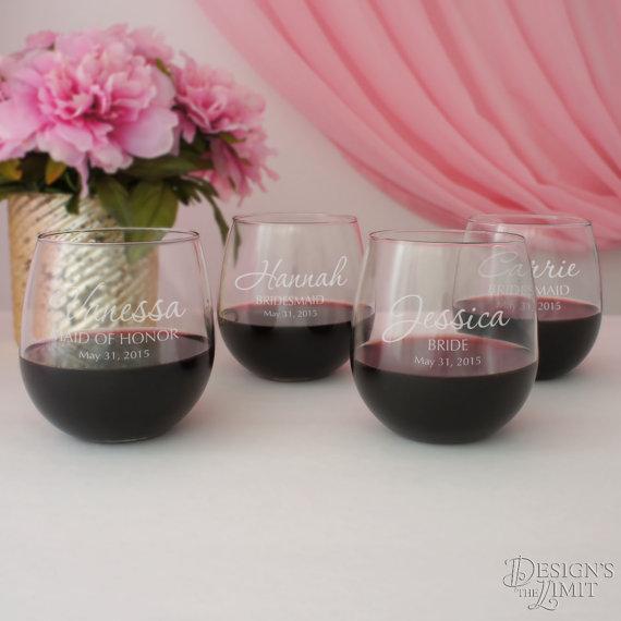 زفاف - Stemless Personalized Wine Glass with Engraved Bridal Party Monogram Design Options & Font Selection with Gift Wrap Option
