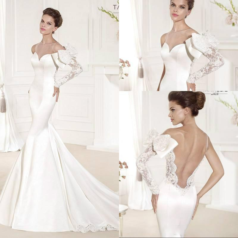 Wedding - Fashion Mermaid Wedding Dress with Long Sleeve Sheer Sexy 2015 Tarik Ediz Illusion Backless Chapel Train Lace Satin Bridal Gown Bow Online with $147.75/Piece on Hjklp88's Store