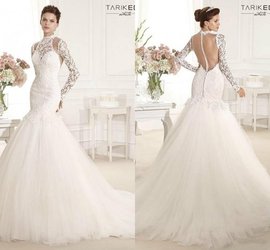 Tarik ediz mermaid wedding dresses 2015 sexy high collar for Wedding dress with high collar