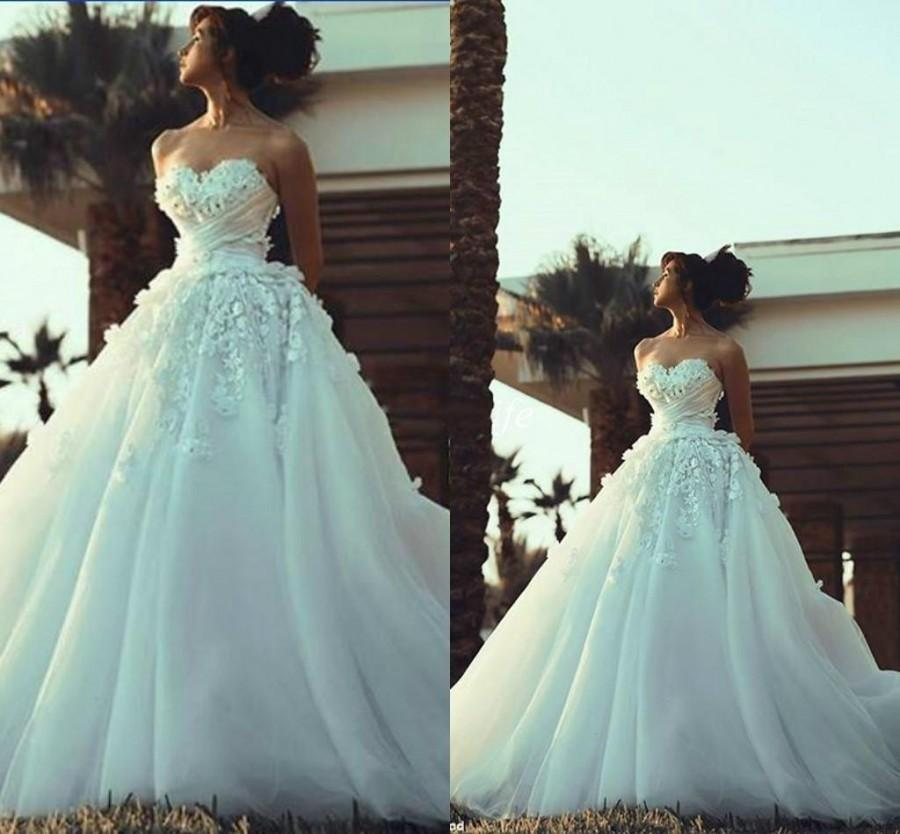 Свадьба - 2015 Spring Wedding Dresses Said Mhamad A-Line Applique Tulle Strapless Lace Bridal Gowns Modest Vestidos De Novia Custom Made Wedding Ball Online with $129.95/Piece on Hjklp88's Store
