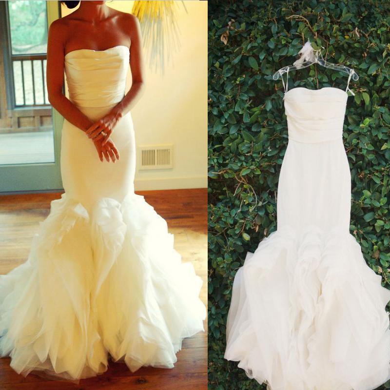 Princess Wedding Dresses Strapless : Sexy princess wedding dresses cascading ruffles organza strapless