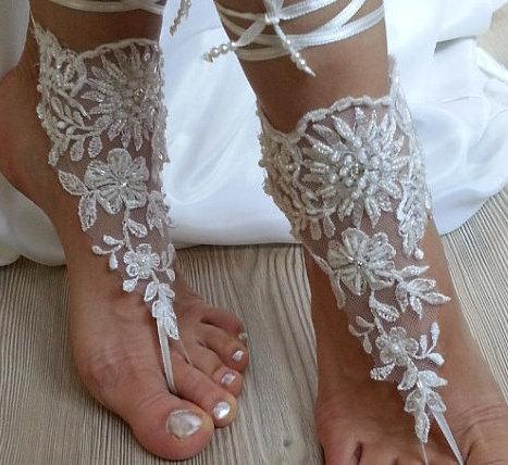 Hochzeit - Beach shoes, bridal sandals, lariat sandals, wedding bridal, ivory accessories, wedding shoes, summer wear, handmade
