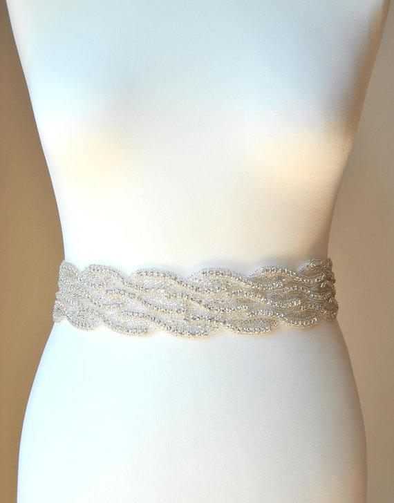 Hochzeit - Luxury Crystal Bridal Sash,Wedding Dress Sash Belt,  Rhinestone Sash,  Rhinestone Bridal Bridesmaid Sash Belt, Wedding dress sash