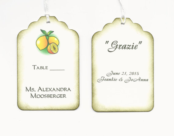 Mariage - Custom listing for Cyndie - 100 DOUBLE-SIDED Limoncello escort cards/place cards/Grazie/Thank you tags