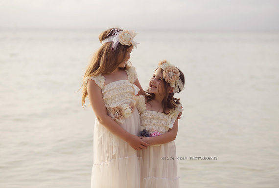 Ivory lace dress flower girl dress beach wedding flower for Flower girl dress for beach wedding