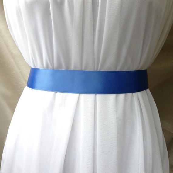Mariage - Delft Blue Double Sided Satin Bridal Sash Belt Plain 1.5 inches Wide