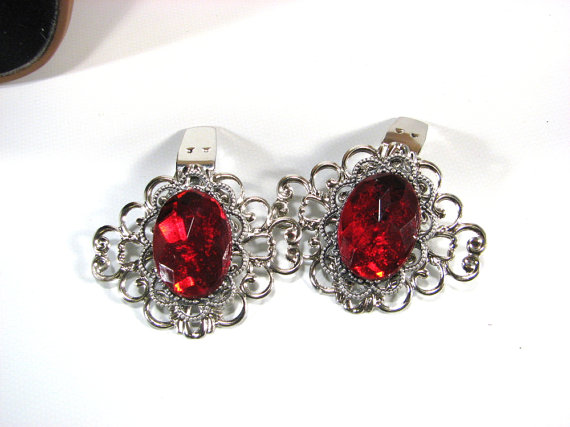Hochzeit - Shoe Clips Red Silver Tone Jewels for your Shoes High Heel Accessories