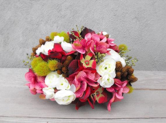 Floral Wedding Cake Topper Wedding Centerpiece Marsala Wedding