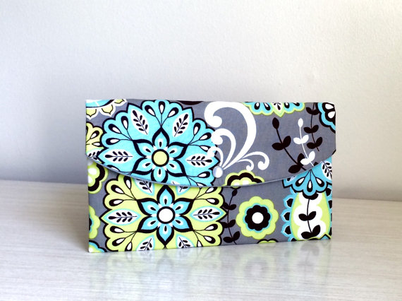 Wedding - Turquoise gray flowers clutch/ Wedding Gift Ideas/clutch/gift idea