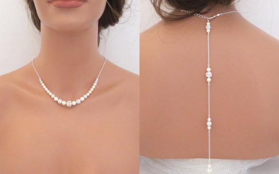 Hochzeit - Pearl Back drop necklace, Bridal Backdrop necklace, Wedding jewelry, Bridal necklace, Pearl Wedding necklace, Swarovski crystal necklace