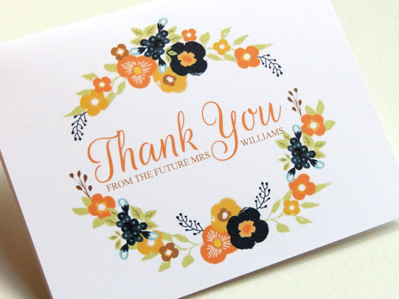 Wedding - Customizable Thank You Newlywed Wedding Bridal Shower Card Set Botanical Floral Wreath