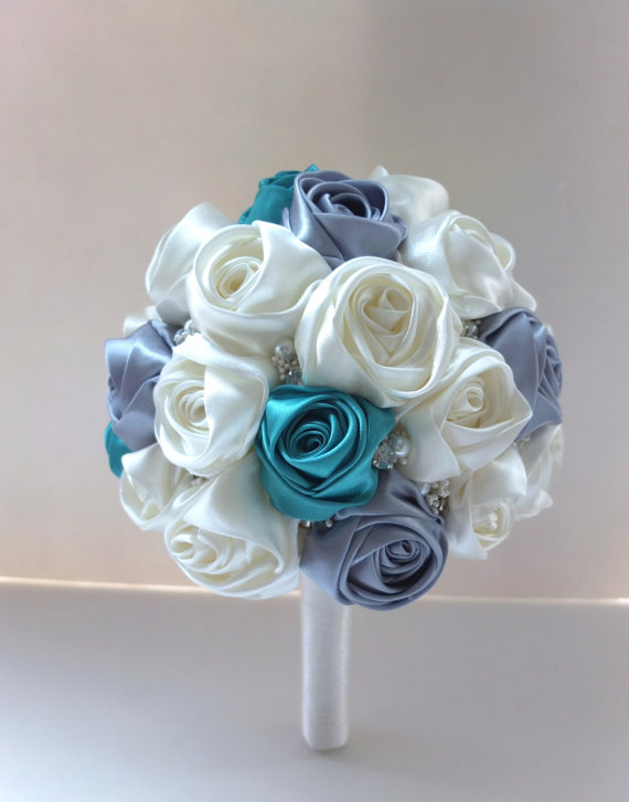 Satin Rose Bouquet, Ribbon Rose Bouquet, Ivory, Teal & Light Gray ...