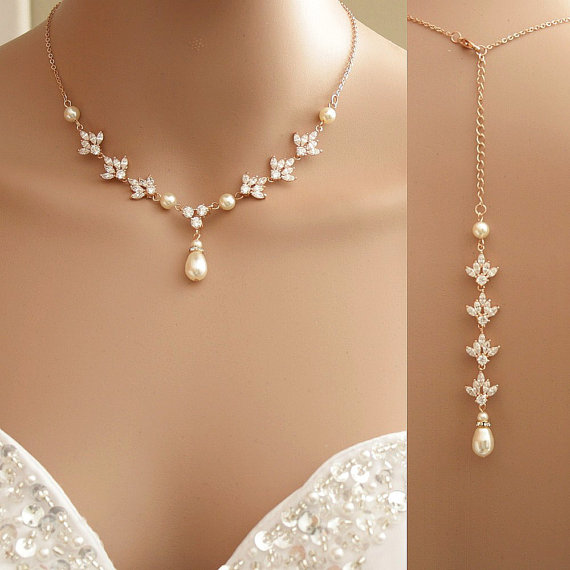 Rose Gold Backdrop Necklace Crystal Backdrop Necklace Pearl Cubic Zirconia Br