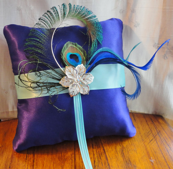 Wedding Purple And Aqua Blue Ring Bearer Pillow More Colors Available