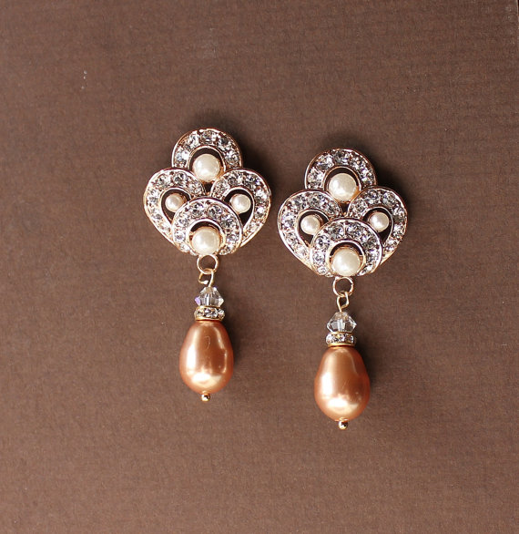Rose Gold Bridal Earrings Pearl And Crystal Wedding Drop Jewelry Bridesmaid Monique