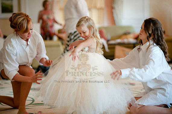 Свадьба - ivory and champagne flower girl dress. birthday tutu dress. www.theprincessandthebou.etsy.com